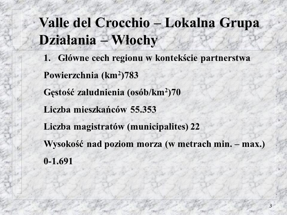 2 Valle del Crocchio – Lokalna Grupa Działania – Włochy Zagadnienia: 1.Główne cechy regionu w kontekście partnerstwa 2.Podstawowe informacji 3.Korzeni