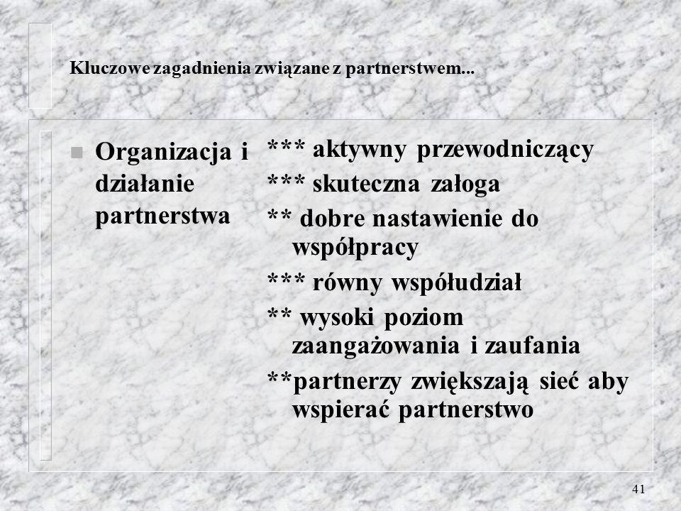 40 Kluczowe zagadnienia związane z partnerstwem... n Cele – rozwój partnerstwa *** zintegrowany dostęp ***konflikty sposobem na zmiany, kontekst polit