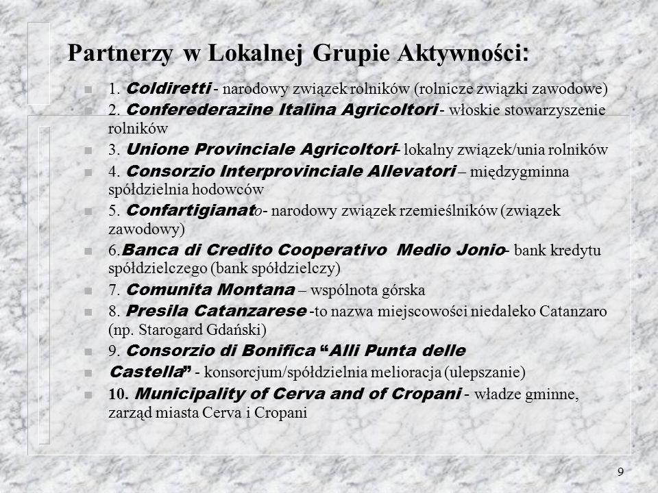 8 Inni lokalni liderzy: Ze strony instytucji publicznych aktywną rolę pełnił Mer Merostwa Cropani, który udostępnił lokal dla LAG. Na terenie Merostwa