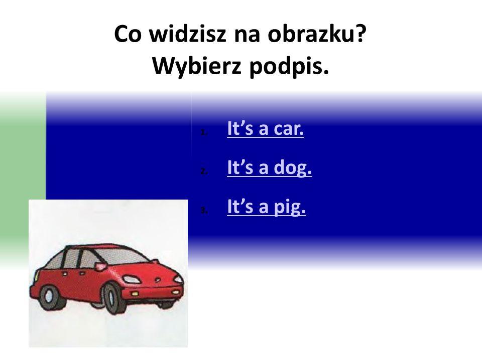Co widzisz na obrazku? Wybierz podpis. 1. It's a car. It's a car. 2. It's a dog. It's a dog. 3. It's a pig. It's a pig.