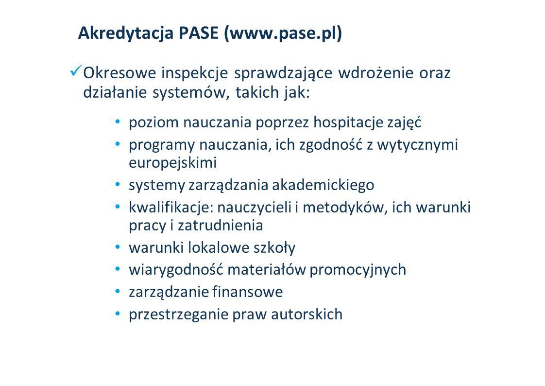 Akredytacja PASE (www.pase.pl) Okresowe inspekcje sprawdzające wdrożenie oraz działanie systemów, takich jak: poziom nauczania poprzez hospitacje zajęć programy nauczania, ich zgodność z wytycznymi europejskimi systemy zarządzania akademickiego kwalifikacje: nauczycieli i metodyków, ich warunki pracy i zatrudnienia warunki lokalowe szkoły wiarygodność materiałów promocyjnych zarządzanie finansowe przestrzeganie praw autorskich