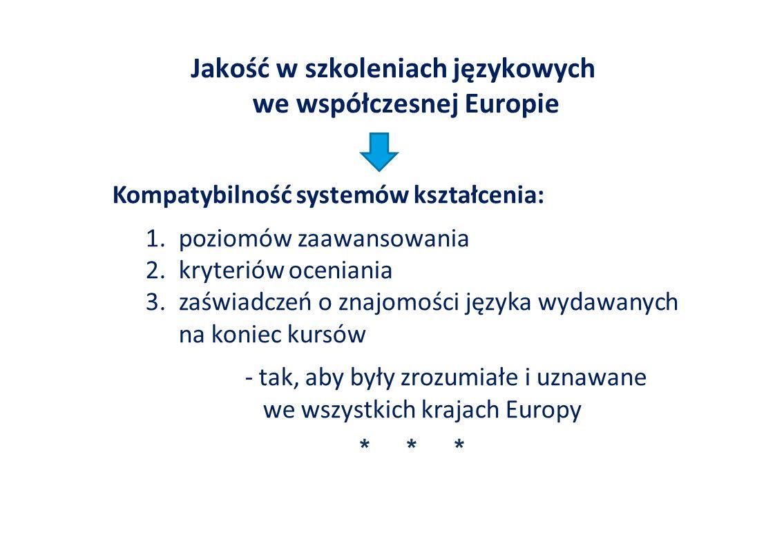 Jakość w szkoleniach językowych we współczesnej Europie Kompatybilność systemów kształcenia: 1.poziomów zaawansowania 2.kryteriów oceniania 3.zaświadczeń o znajomości języka wydawanych na koniec kursów - tak, aby były zrozumiałe i uznawane we wszystkich krajach Europy * * *