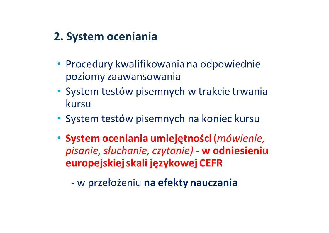 2. System oceniania Procedury kwalifikowania na odpowiednie poziomy zaawansowania System testów pisemnych w trakcie trwania kursu System testów pisemn