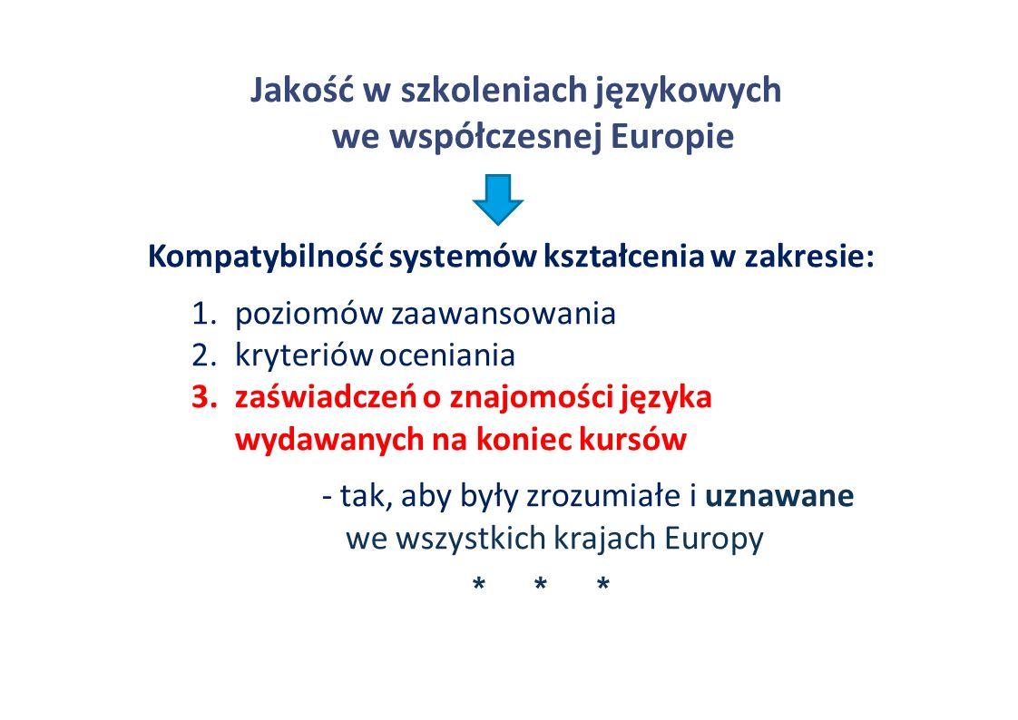 Jakość w szkoleniach językowych we współczesnej Europie Kompatybilność systemów kształcenia w zakresie: 1.poziomów zaawansowania 2.kryteriów oceniania 3.zaświadczeń o znajomości języka wydawanych na koniec kursów - tak, aby były zrozumiałe i uznawane we wszystkich krajach Europy * * *