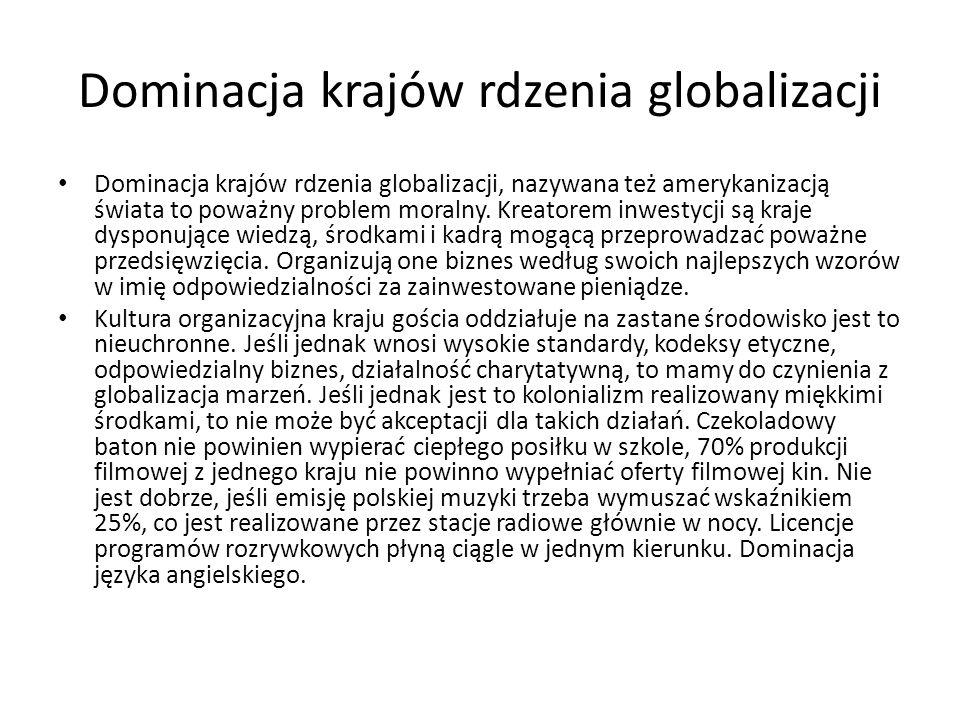 Dominacja krajów rdzenia globalizacji Dominacja krajów rdzenia globalizacji, nazywana też amerykanizacją świata to poważny problem moralny.