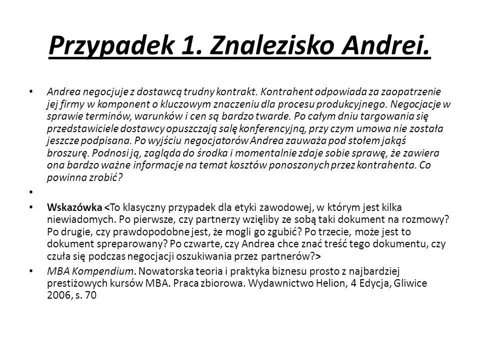 Przypadek 1. Znalezisko Andrei. Andrea negocjuje z dostawcą trudny kontrakt.