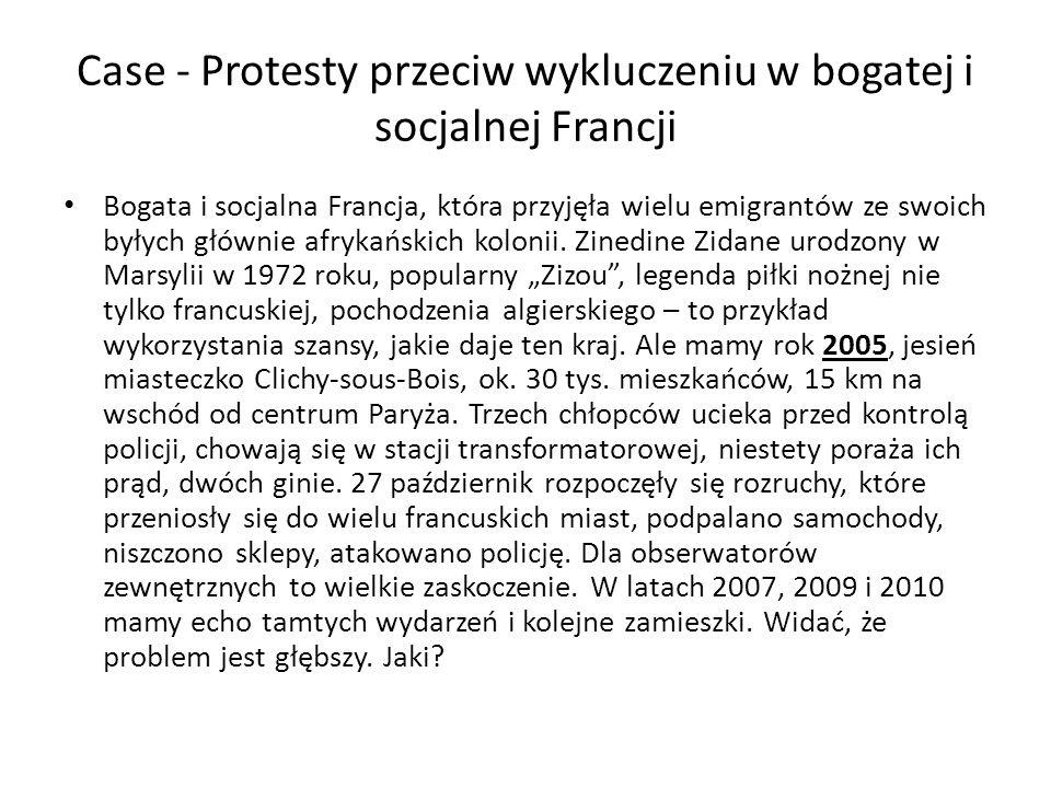 Case - Protesty przeciw wykluczeniu w bogatej i socjalnej Francji Bogata i socjalna Francja, która przyjęła wielu emigrantów ze swoich byłych głównie afrykańskich kolonii.