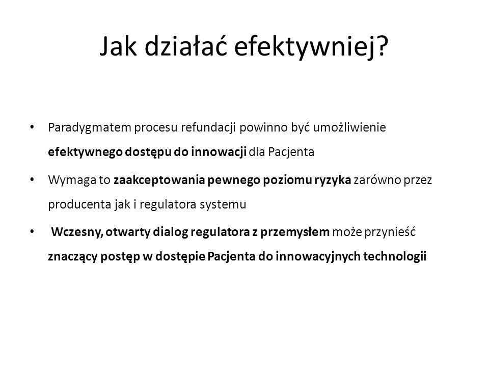 Jak działać efektywniej? Paradygmatem procesu refundacji powinno być umożliwienie efektywnego dostępu do innowacji dla Pacjenta Wymaga to zaakceptowan