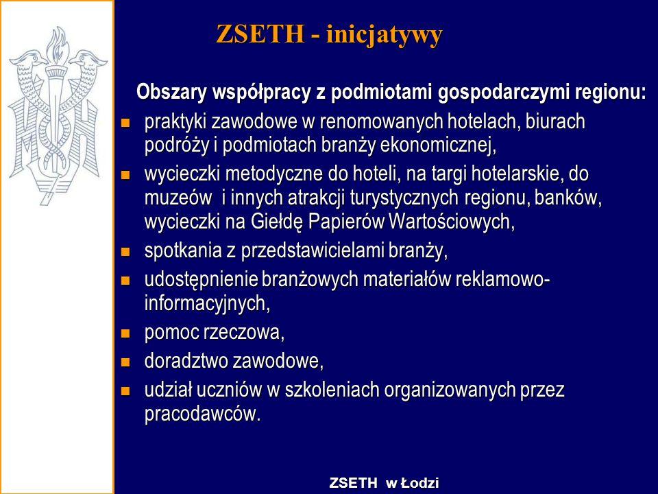 ZSETH - inicjatywy Obszary współpracy z podmiotami gospodarczymi regionu: Obszary współpracy z podmiotami gospodarczymi regionu: praktyki zawodowe w r