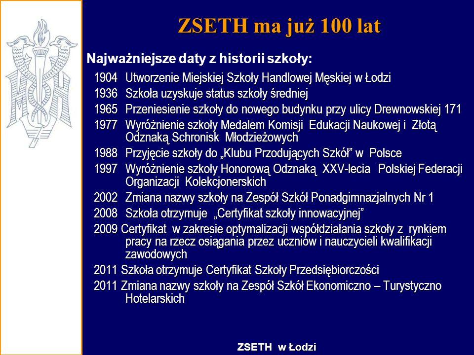 ZSETH ma już 100 lat 1904Utworzenie Miejskiej Szkoły Handlowej Męskiej w Łodzi 1936Szkoła uzyskuje status szkoły średniej 1965Przeniesienie szkoły do
