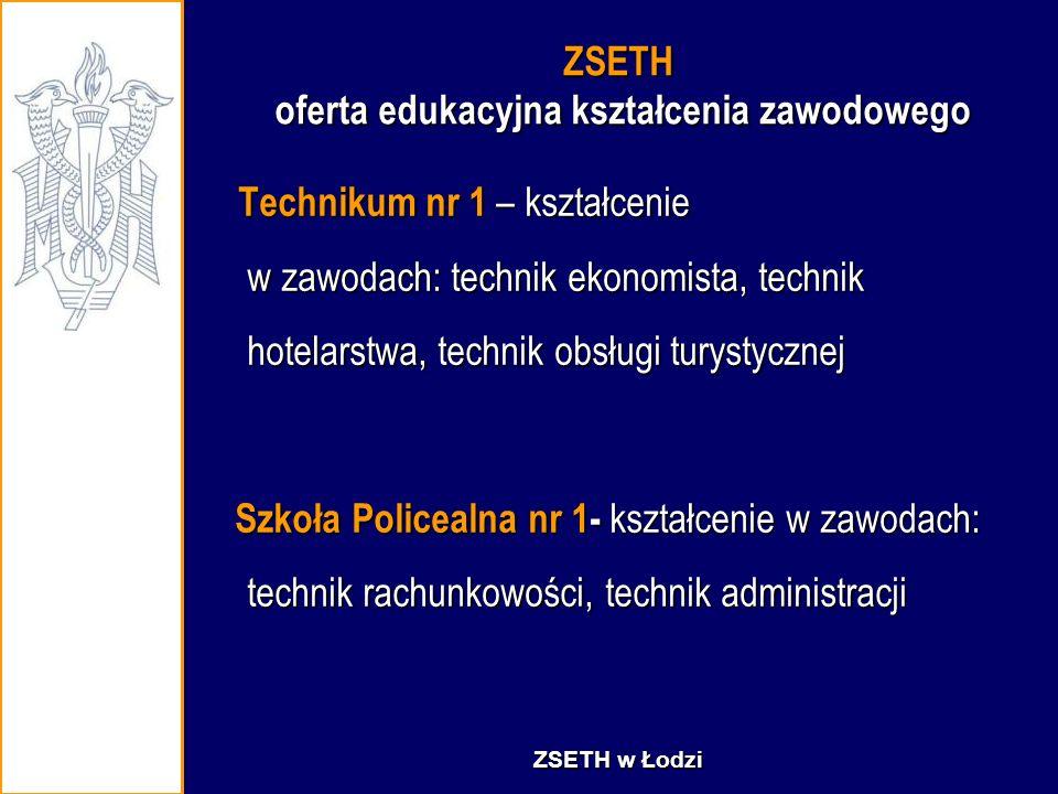 ZSETH oferta edukacyjna kształcenia zawodowego Technikum nr 1 – kształcenie w zawodach: technik ekonomista, technik hotelarstwa, technik obsługi turys