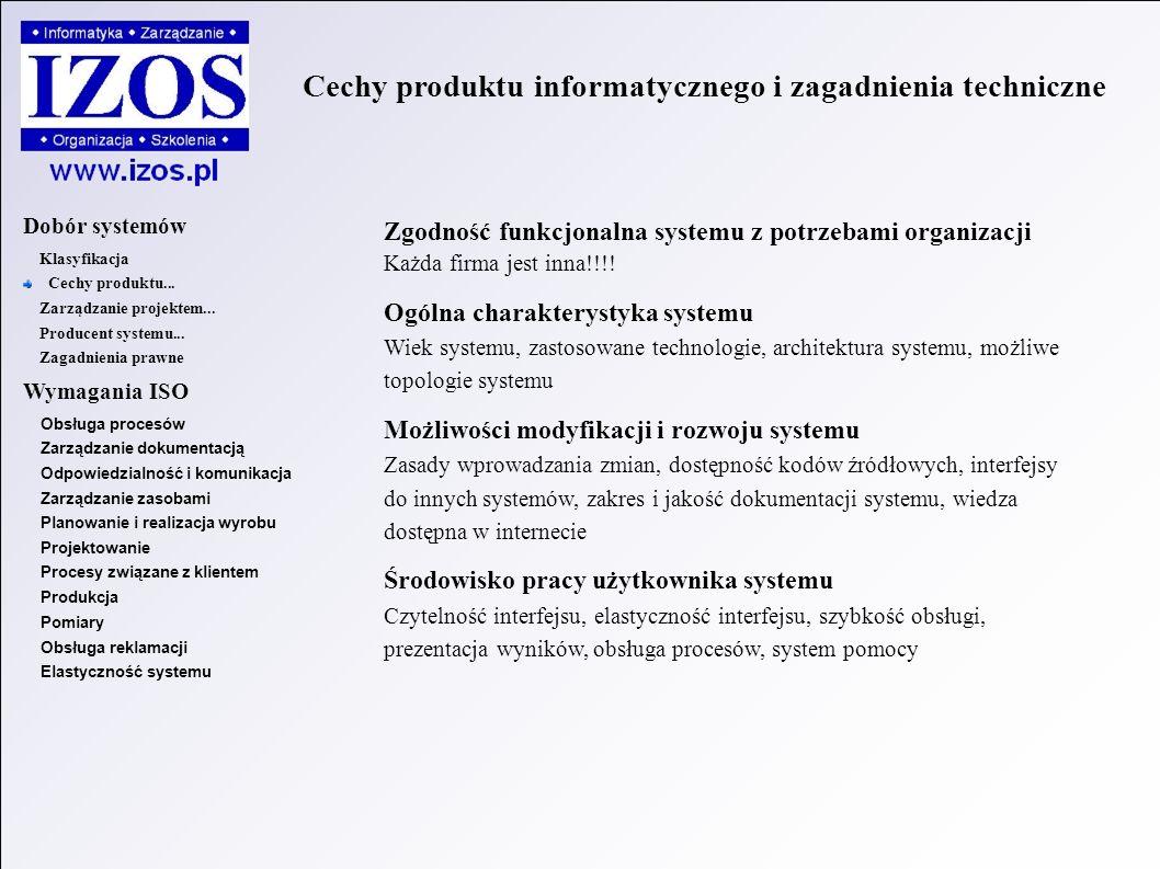 Zgodność funkcjonalna systemu z potrzebami organizacji Każda firma jest inna!!!.