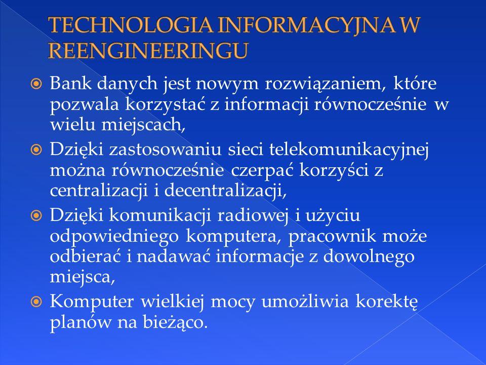  Bank danych jest nowym rozwiązaniem, które pozwala korzystać z informacji równocześnie w wielu miejscach,  Dzięki zastosowaniu sieci telekomunikacy