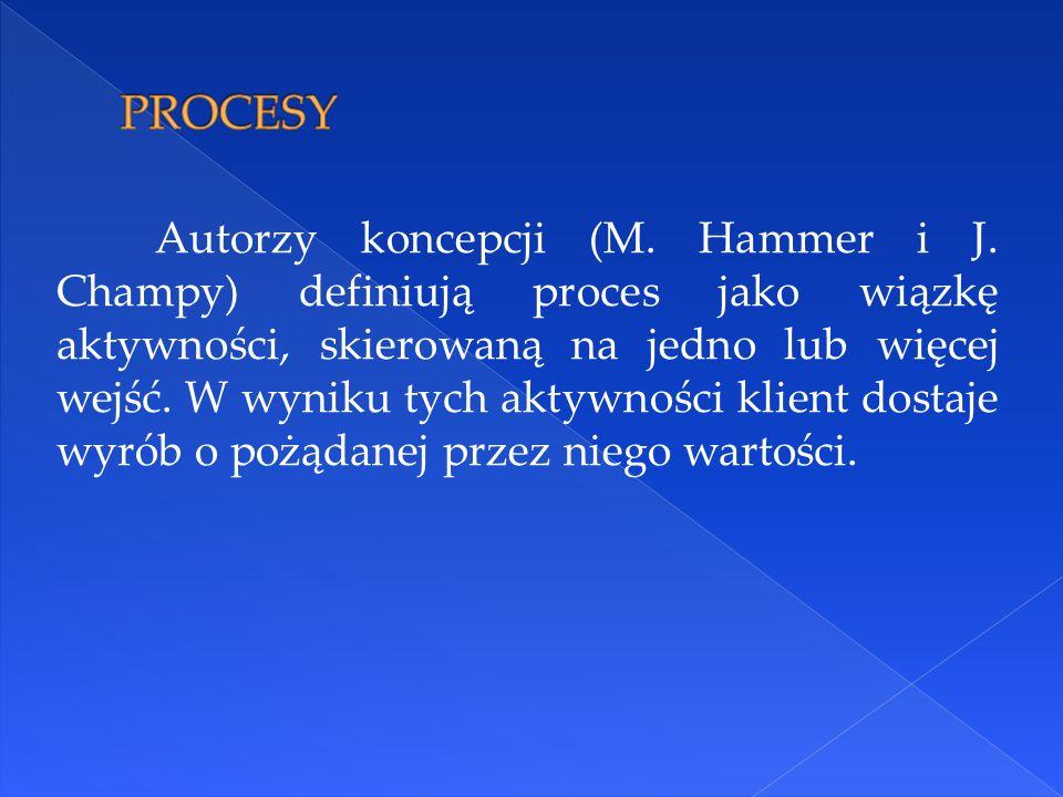 Autorzy koncepcji (M. Hammer i J. Champy) definiują proces jako wiązkę aktywności, skierowaną na jedno lub więcej wejść. W wyniku tych aktywności klie