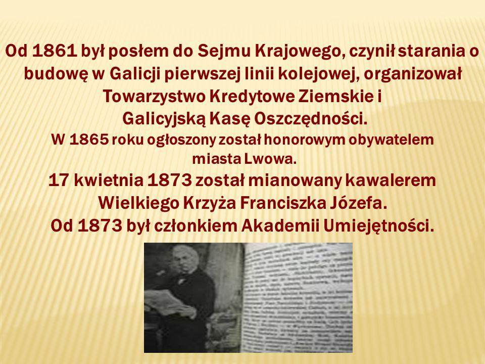 Od 1861 był posłem do Sejmu Krajowego, czynił starania o budowę w Galicji pierwszej linii kolejowej, organizował Towarzystwo Kredytowe Ziemskie i Galicyjską Kasę Oszczędności.