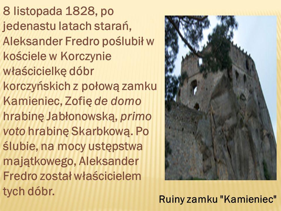 8 listopada 1828, po jedenastu latach starań, Aleksander Fredro poślubił w kościele w Korczynie właścicielkę dóbr korczyńskich z połową zamku Kamieniec, Zofię de domo hrabinę Jabłonowską, primo voto hrabinę Skarbkową.