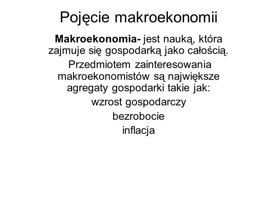 Pojęcie makroekonomii Makroekonomia- jest nauką, która zajmuje się gospodarką jako całością. Przedmiotem zainteresowania makroekonomistów są największ