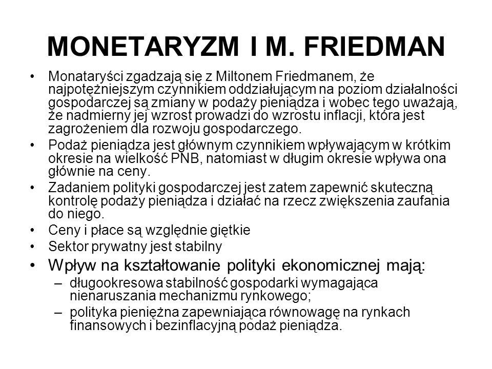 MONETARYZM I M. FRIEDMAN Monataryści zgadzają się z Miltonem Friedmanem, że najpotężniejszym czynnikiem oddziałującym na poziom działalności gospodarc