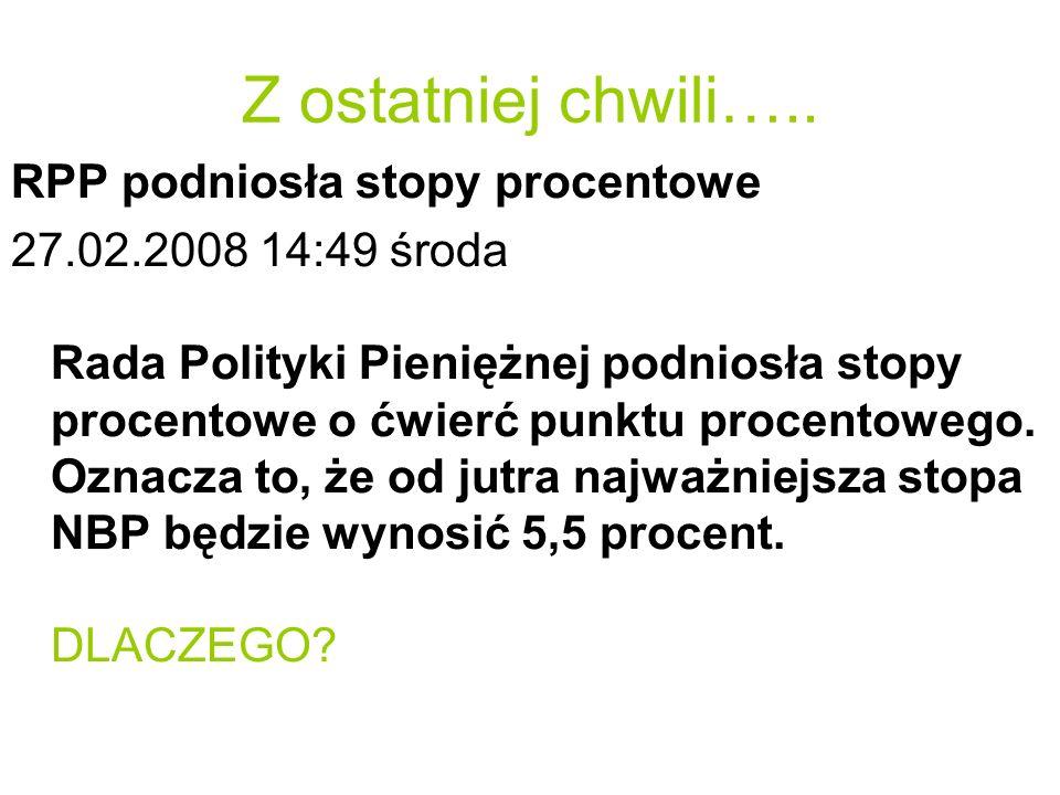 Z ostatniej chwili….. RPP podniosła stopy procentowe 27.02.2008 14:49 środa Rada Polityki Pieniężnej podniosła stopy procentowe o ćwierć punktu procen
