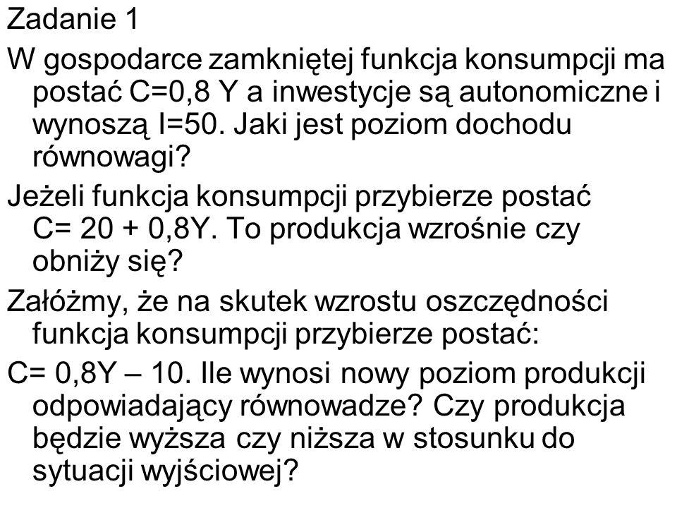 Zadanie 1 W gospodarce zamkniętej funkcja konsumpcji ma postać C=0,8 Y a inwestycje są autonomiczne i wynoszą I=50. Jaki jest poziom dochodu równowagi