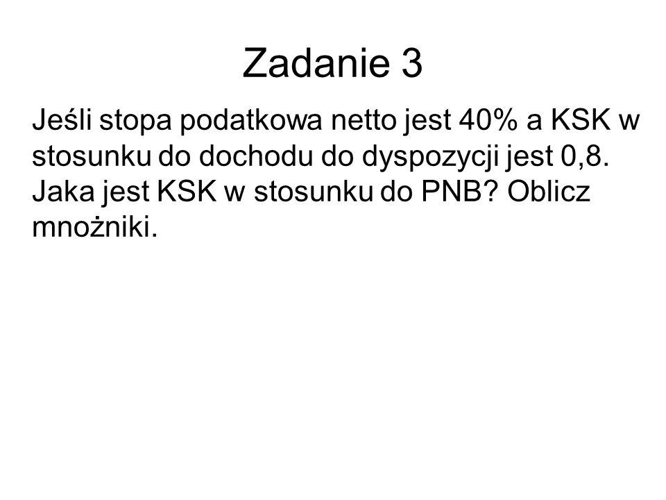 Zadanie 3 Jeśli stopa podatkowa netto jest 40% a KSK w stosunku do dochodu do dyspozycji jest 0,8. Jaka jest KSK w stosunku do PNB? Oblicz mnożniki.