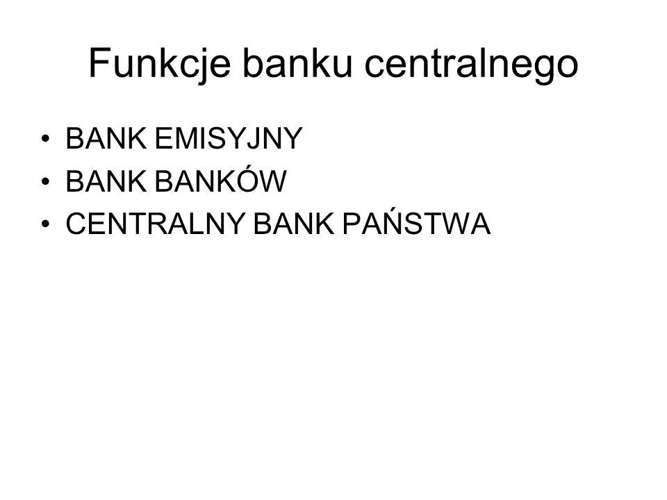 Funkcje banku centralnego BANK EMISYJNY BANK BANKÓW CENTRALNY BANK PAŃSTWA