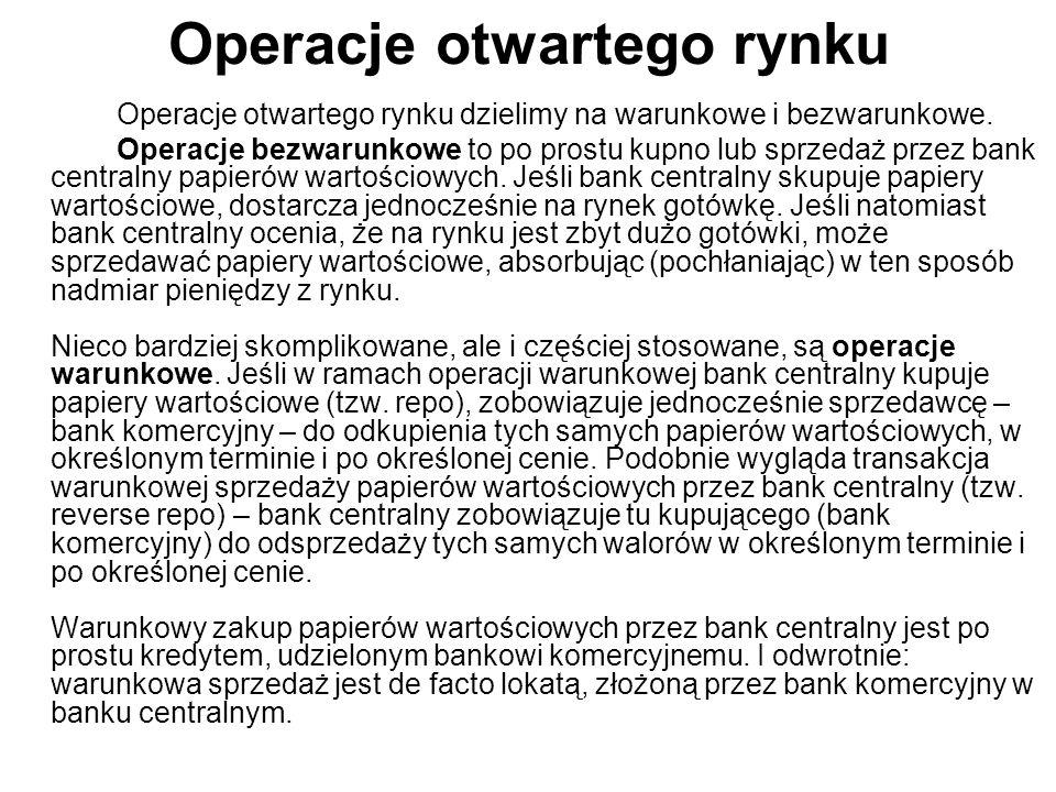Operacje otwartego rynku Operacje otwartego rynku dzielimy na warunkowe i bezwarunkowe. Operacje bezwarunkowe to po prostu kupno lub sprzedaż przez ba