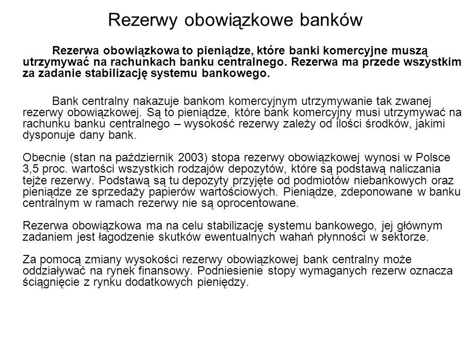 Rezerwy obowiązkowe banków Rezerwa obowiązkowa to pieniądze, które banki komercyjne muszą utrzymywać na rachunkach banku centralnego. Rezerwa ma przed