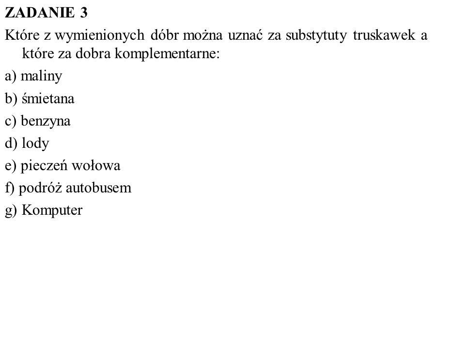 ZADANIE 3 Które z wymienionych dóbr można uznać za substytuty truskawek a które za dobra komplementarne: a) maliny b) śmietana c) benzyna d) lody e) p