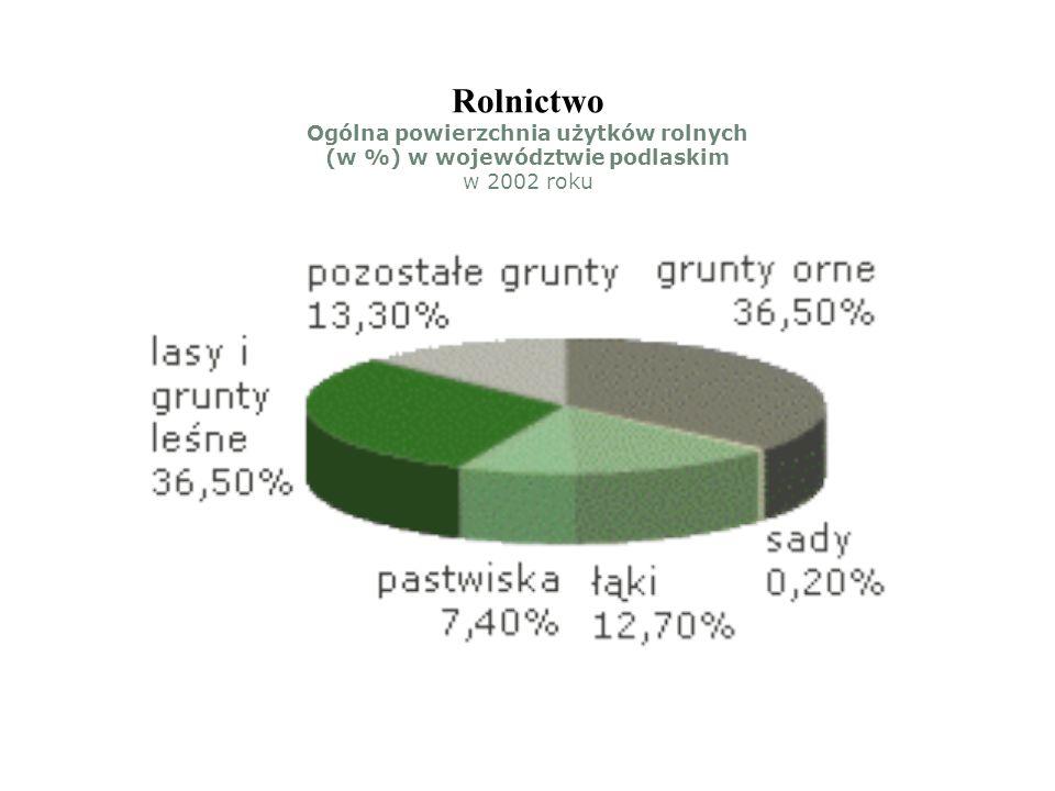 Rolnictwo Ogólna powierzchnia użytków rolnych (w %) w województwie podlaskim w 2002 roku