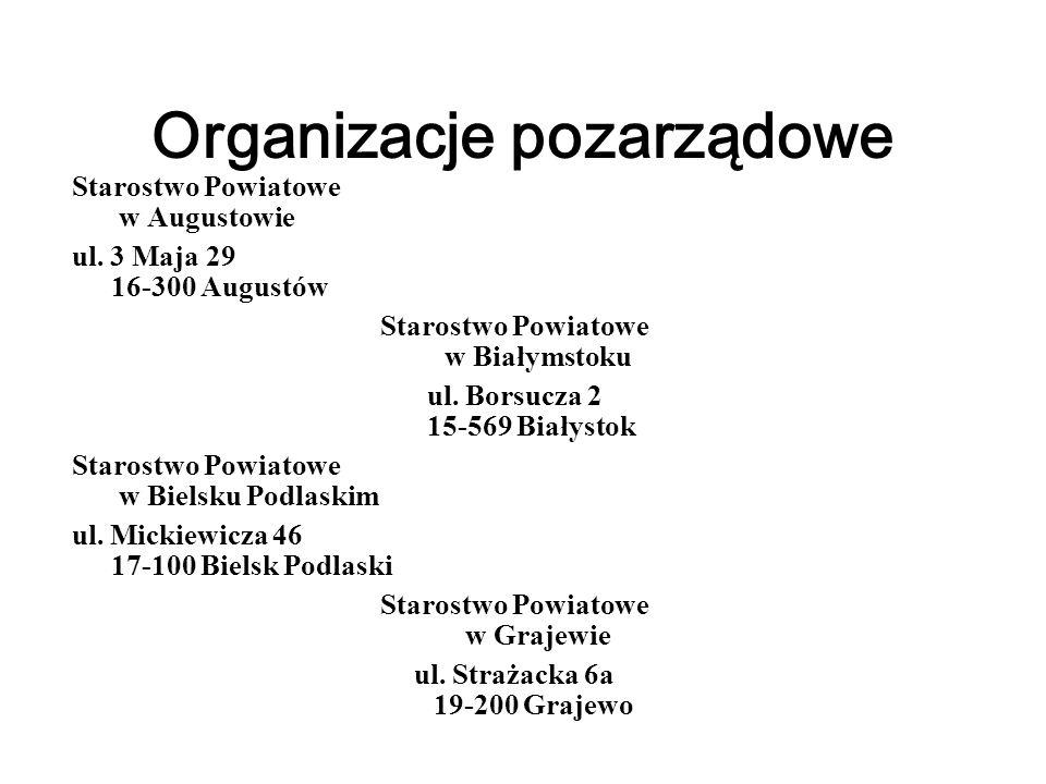 Organizacje pozarządowe Starostwo Powiatowe w Augustowie ul.