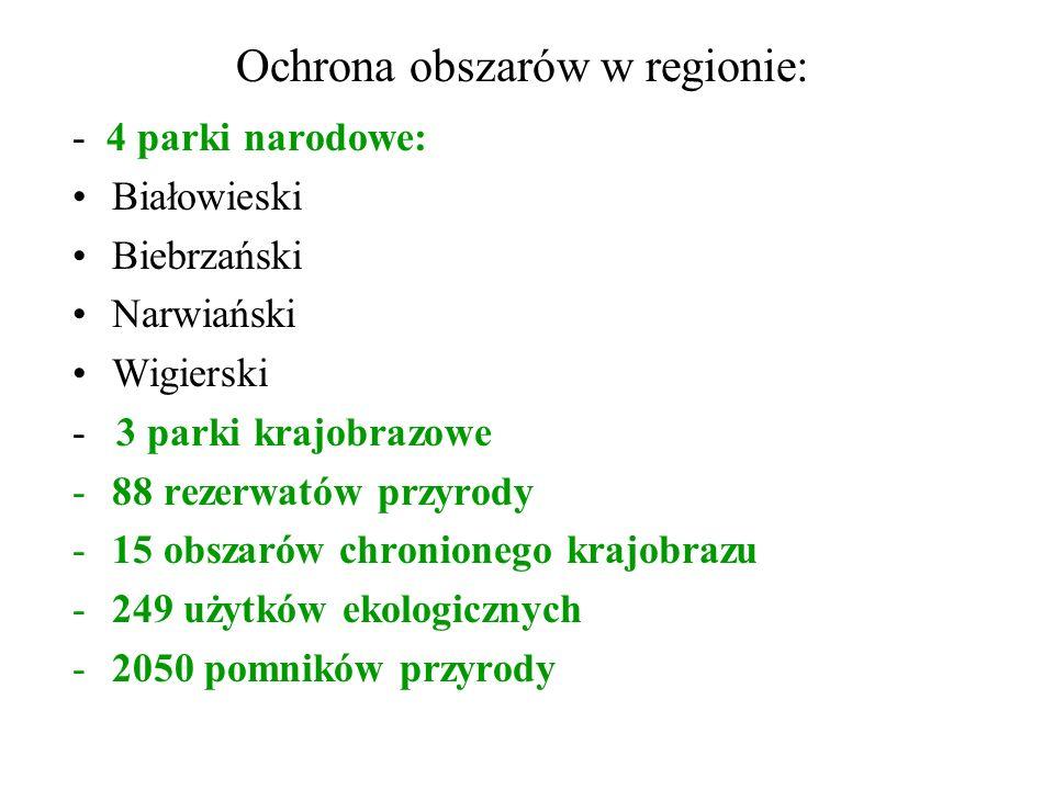 Ochrona obszarów w regionie: - 4 parki narodowe: Białowieski Biebrzański Narwiański Wigierski - 3 parki krajobrazowe -88 rezerwatów przyrody -15 obszarów chronionego krajobrazu -249 użytków ekologicznych -2050 pomników przyrody
