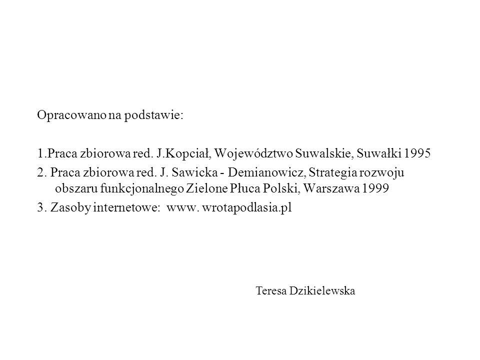 Opracowano na podstawie: 1.Praca zbiorowa red. J.Kopciał, Województwo Suwalskie, Suwałki 1995 2.