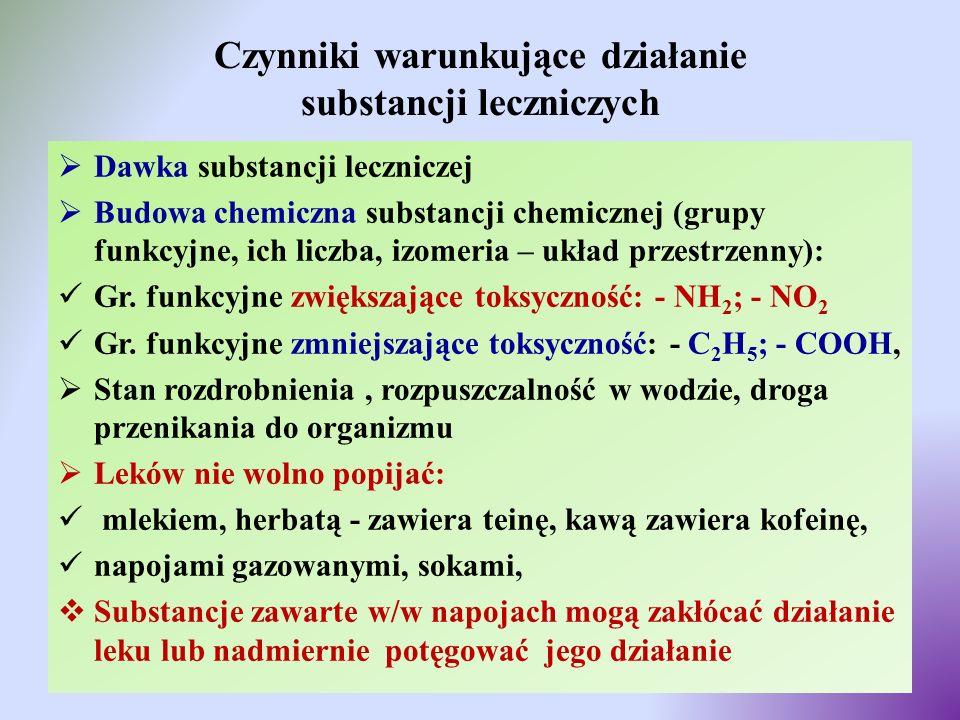 Czynniki warunkujące działanie substancji leczniczych  Dawka substancji leczniczej  Budowa chemiczna substancji chemicznej (grupy funkcyjne, ich lic