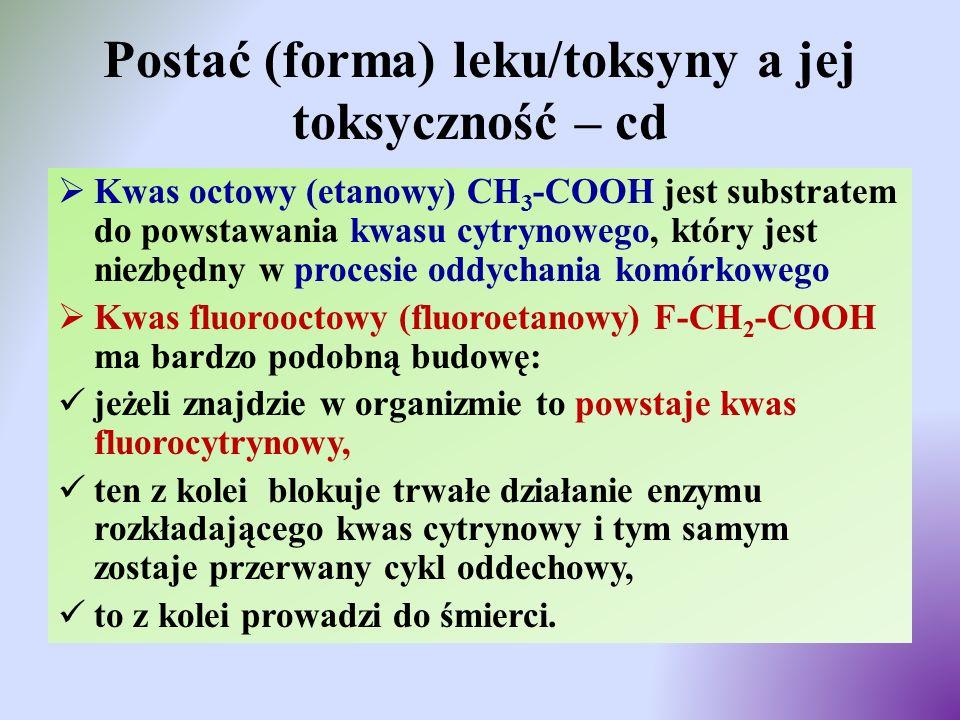 Postać (forma) leku/toksyny a jej toksyczność – cd  Kwas octowy (etanowy) CH 3 -COOH jest substratem do powstawania kwasu cytrynowego, który jest nie