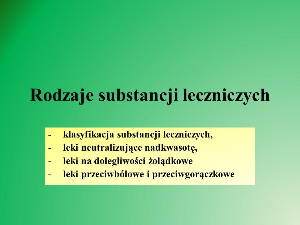 Rodzaje substancji leczniczych -klasyfikacja substancji leczniczych, -leki neutralizujące nadkwasotę, -leki na dolegliwości żołądkowe -leki przeciwbólowe i przeciwgorączkowe