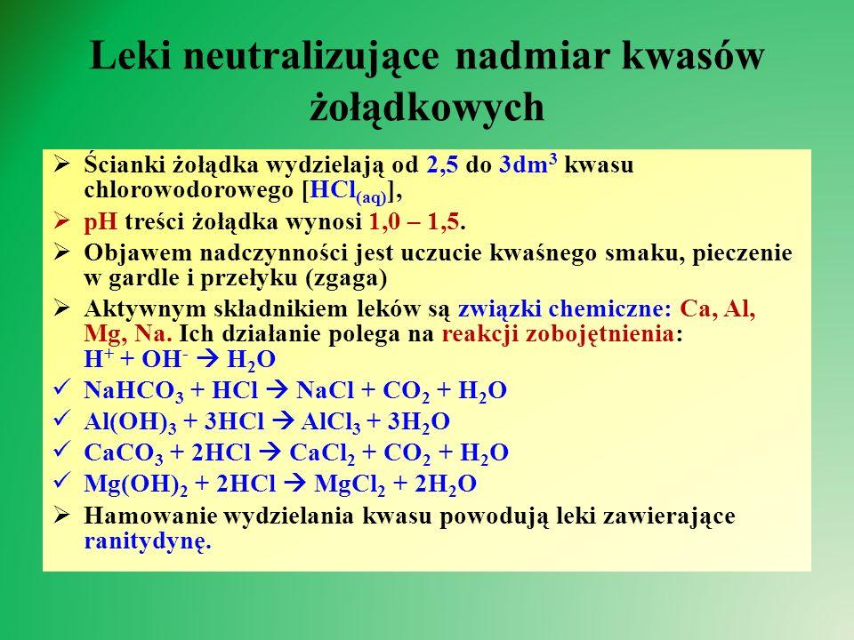 Leki neutralizujące nadmiar kwasów żołądkowych  Ścianki żołądka wydzielają od 2,5 do 3dm 3 kwasu chlorowodorowego [HCl (aq) ],  pH treści żołądka wynosi 1,0 – 1,5.