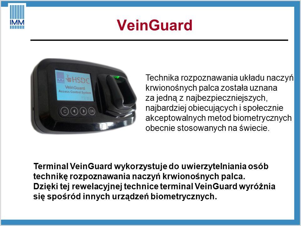 Terminal VeinGuard wykorzystuje do uwierzytelniania osób technikę rozpoznawania naczyń krwionośnych palca.