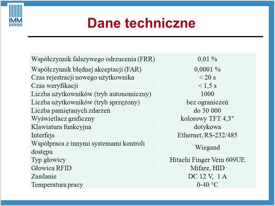 Dane techniczne Współczynnik fałszywego odrzucenia (FRR)0,01 % Współczynnik błędnej akceptacji (FAR)0,0001 % Czas rejestracji nowego użytkownika< 20 s Czas weryfikacji< 1,5 s Liczba użytkowników (tryb autonomiczny)1000 Liczba użytkowników (tryb sprzężony)bez ograniczeń Liczba pamiętanych zdarzeńdo 30 000 Wyświetlacz graficznykolorowy TFT 4,3″ Klawiatura funkcyjnadotykowa InterfejsEthernet, RS-232/485 Współpraca z innymi systemami kontroli dostępu Wiegand Typ głowicyHitachi Finger Vein 609UE Głowica RFIDMifare, HID ZasilanieDC 12 V, 1 A Temperatura pracy0-40 °C