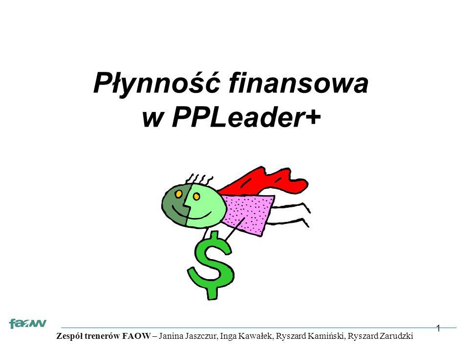 Zespół trenerów FAOW – Janina Jaszczur, Inga Kawałek, Ryszard Kamiński, Ryszard Zarudzki 1 Płynność finansowa w PPLeader+