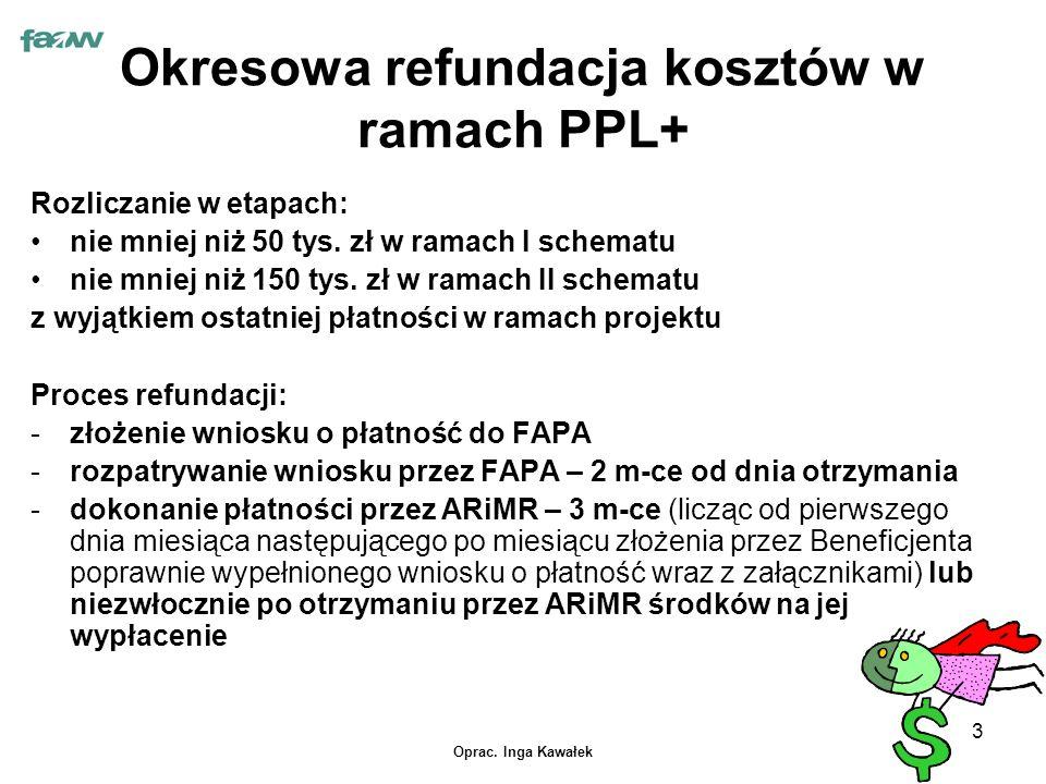 Oprac. Inga Kawałek 3 Okresowa refundacja kosztów w ramach PPL+ Rozliczanie w etapach: nie mniej niż 50 tys. zł w ramach I schematu nie mniej niż 150