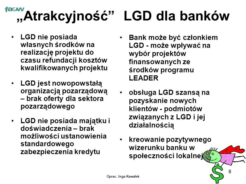 """Oprac. Inga Kawałek 6 """"Atrakcyjność"""" LGD dla banków LGD nie posiada własnych środków na realizację projektu do czasu refundacji kosztów kwalifikowanyc"""