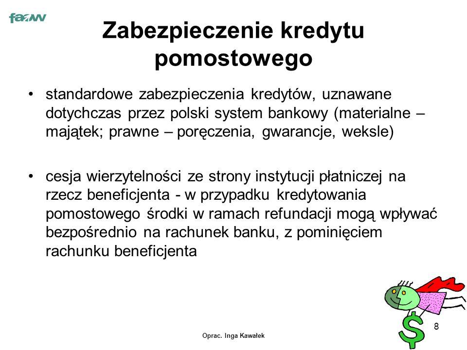 Oprac. Inga Kawałek 8 Zabezpieczenie kredytu pomostowego standardowe zabezpieczenia kredytów, uznawane dotychczas przez polski system bankowy (materia