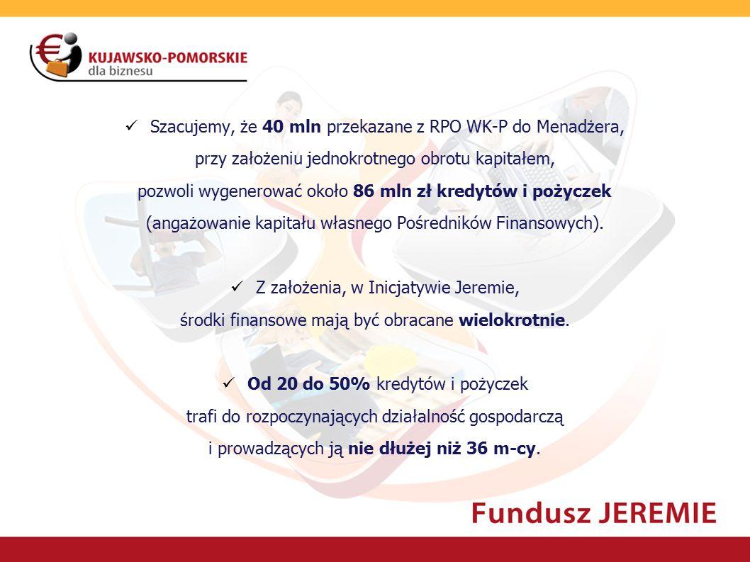 Szacujemy, że 40 mln przekazane z RPO WK-P do Menadżera, przy założeniu jednokrotnego obrotu kapitałem, pozwoli wygenerować około 86 mln zł kredytów i