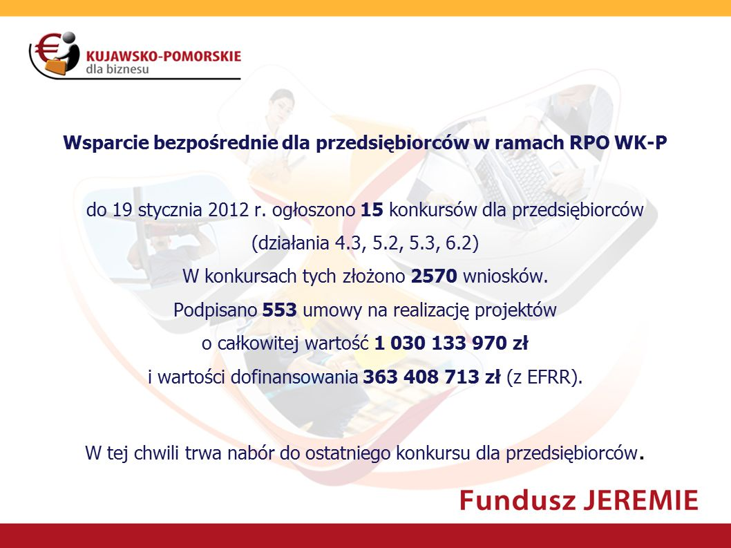 Wsparcie pośrednie dla przedsiębiorców w ramach RPO WK-P  Tereny inwestycyjne: finansowanie uzbrojenia terenów inwestycyjnych do udostępnienia przedsiębiorcom, 7 projektów, których efektem będzie stworzenie lub/i powiększenie parków przemysłowych we Włocławku, Bydgoszczy, Inowrocławiu, Świeciu, Solcu Kujawskim i Rypinie.