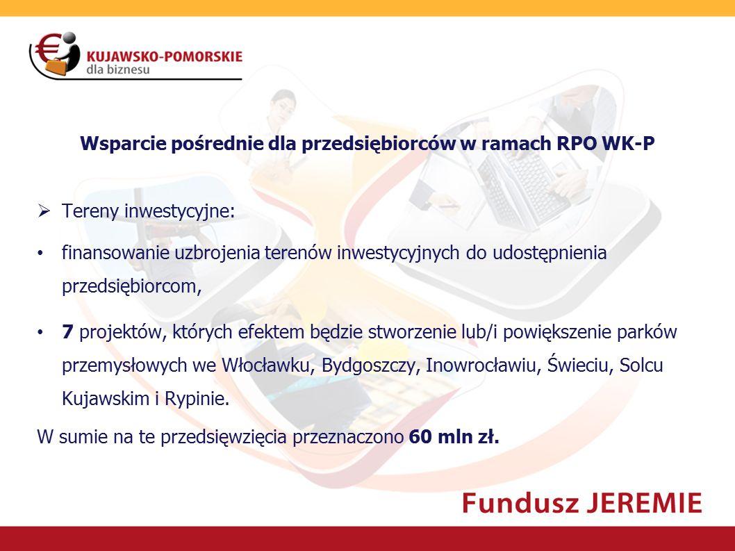 Wsparcie pośrednie dla przedsiębiorców w ramach RPO WK-P  Tereny inwestycyjne: finansowanie uzbrojenia terenów inwestycyjnych do udostępnienia przeds