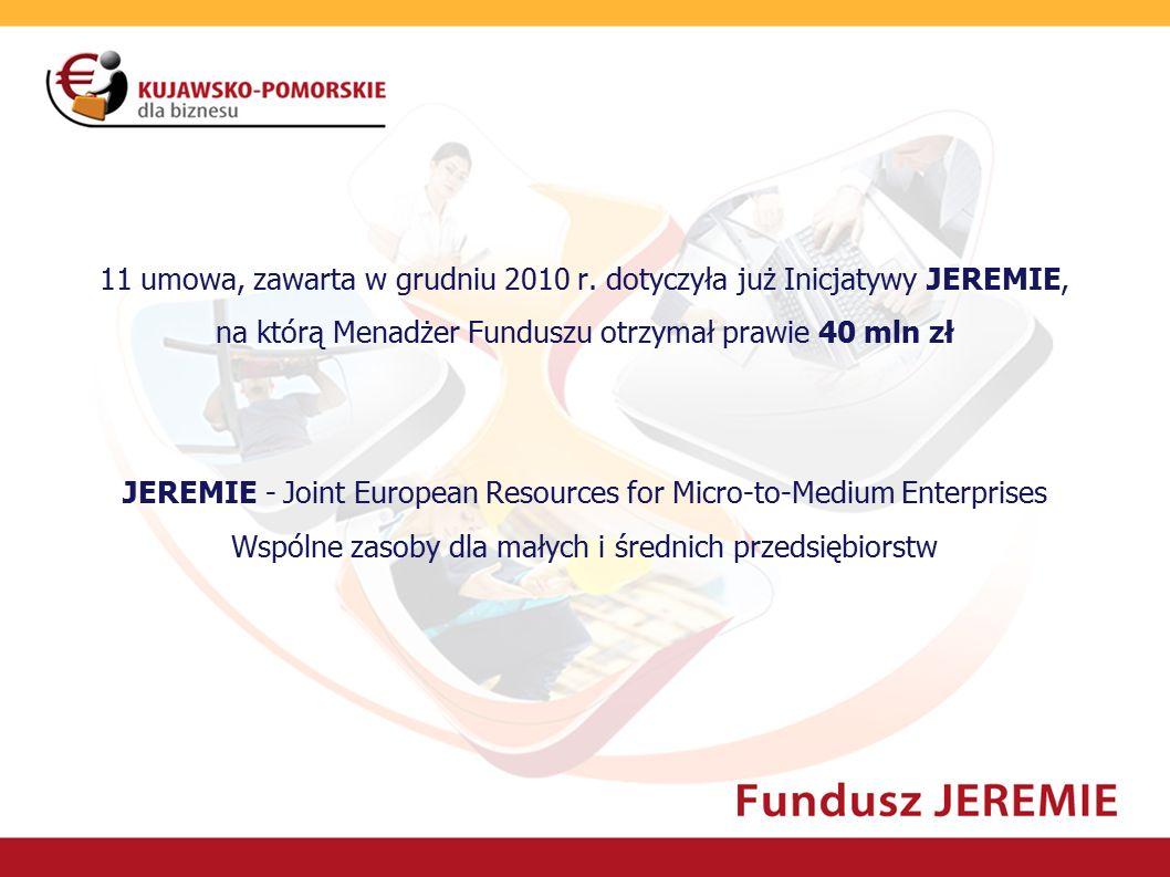 11 umowa, zawarta w grudniu 2010 r. dotyczyła już Inicjatywy JEREMIE, na którą Menadżer Funduszu otrzymał prawie 40 mln zł JEREMIE - Joint European Re