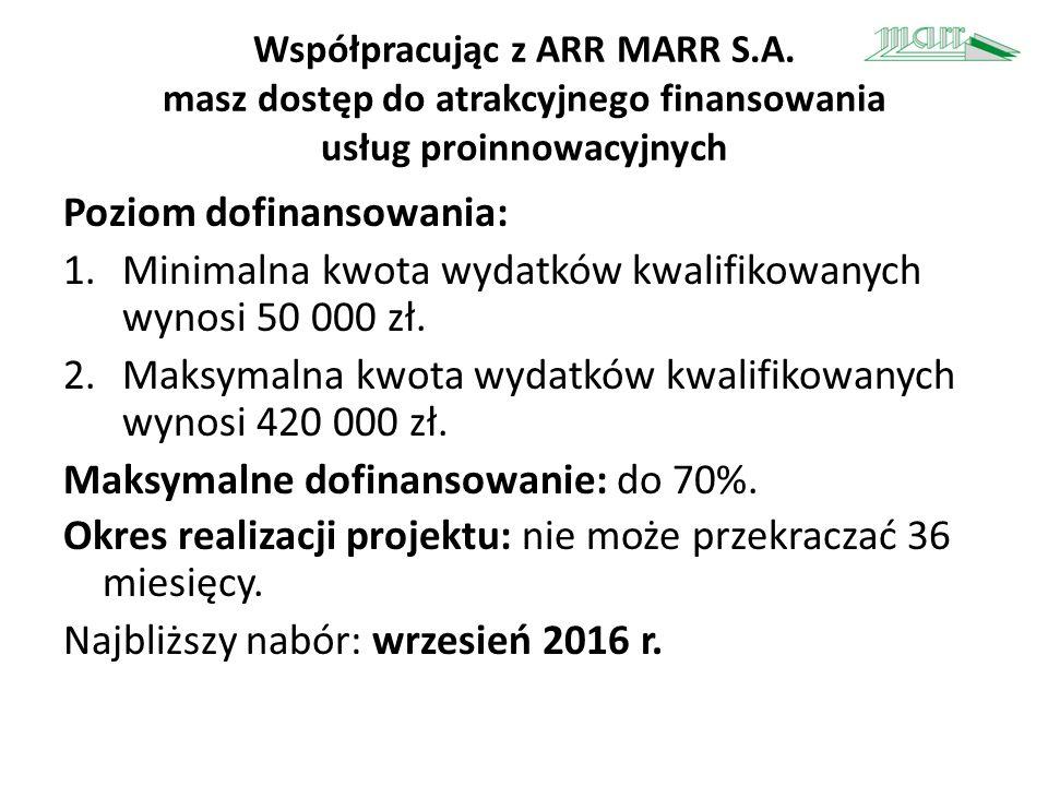 Współpracując z ARR MARR S.A. masz dostęp do atrakcyjnego finansowania usług proinnowacyjnych Poziom dofinansowania: 1.Minimalna kwota wydatków kwalif