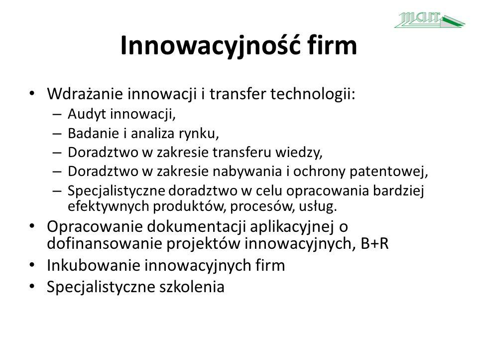 Innowacyjność firm Wdrażanie innowacji i transfer technologii: – Audyt innowacji, – Badanie i analiza rynku, – Doradztwo w zakresie transferu wiedzy,