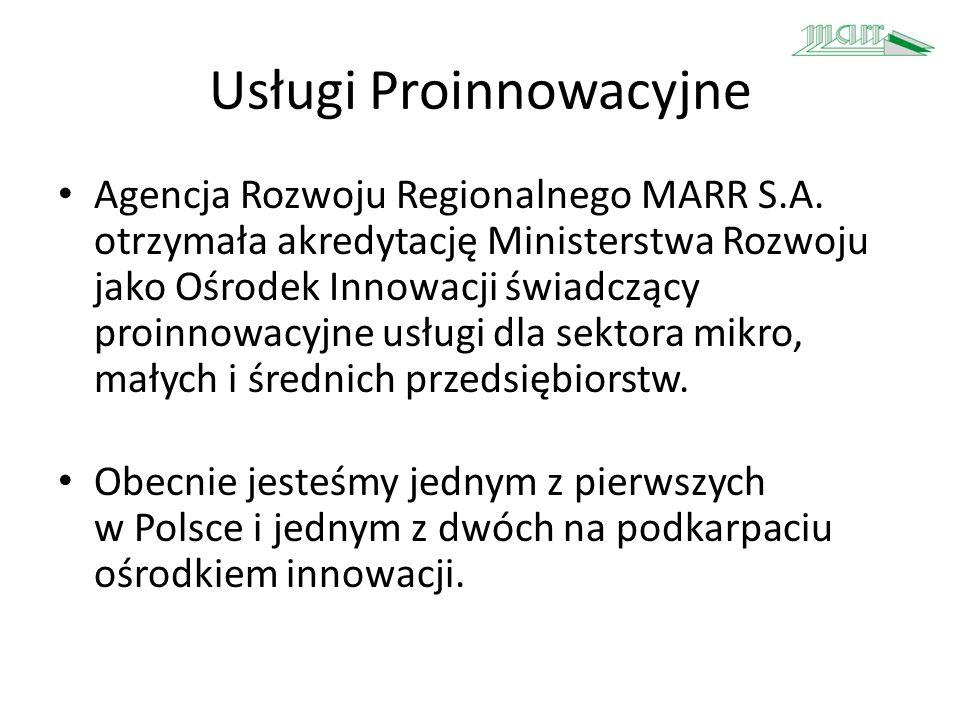 Usługi Proinnowacyjne Agencja Rozwoju Regionalnego MARR S.A. otrzymała akredytację Ministerstwa Rozwoju jako Ośrodek Innowacji świadczący proinnowacyj